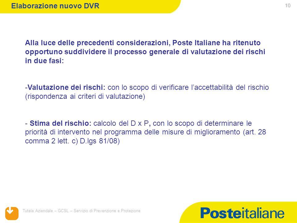 05/02/2014 Tutela Aziendale – GCSL – Servizio di Prevenzione e Protezione 10 Alla luce delle precedenti considerazioni, Poste Italiane ha ritenuto opp