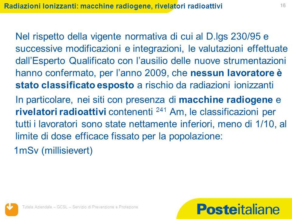 05/02/2014 Tutela Aziendale – GCSL – Servizio di Prevenzione e Protezione 16 Radiazioni Ionizzanti: macchine radiogene, rivelatori radioattivi Nel ris