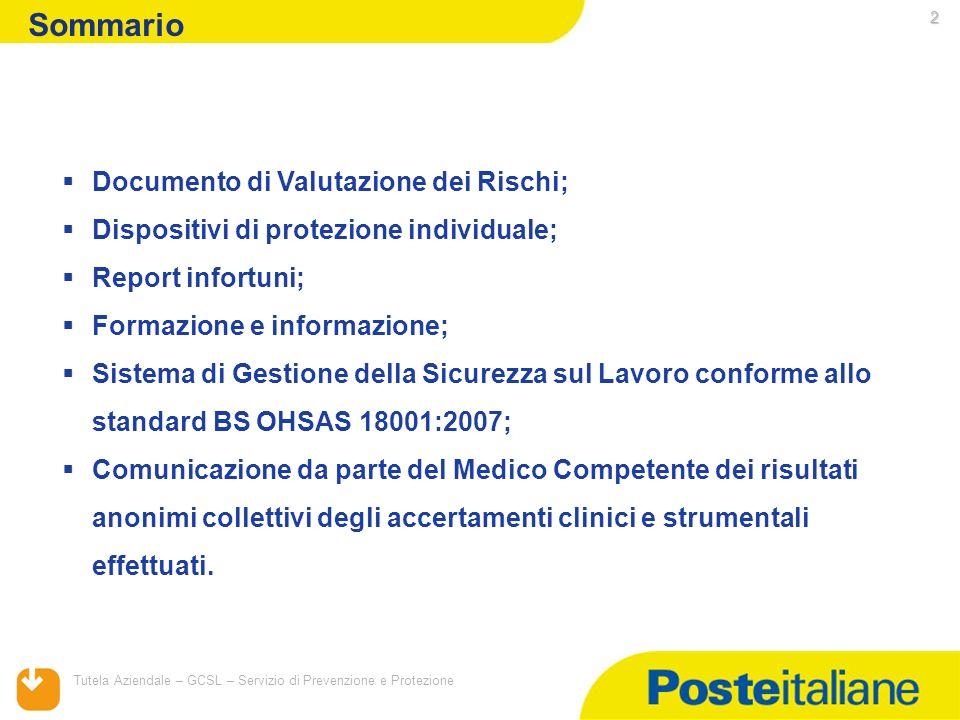 05/02/2014 Tutela Aziendale – GCSL – Servizio di Prevenzione e Protezione 2 Sommario Documento di Valutazione dei Rischi; Dispositivi di protezione in
