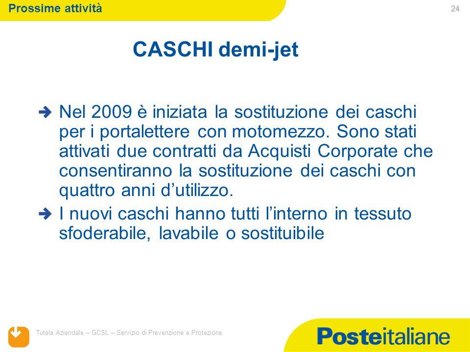 05/02/2014 Tutela Aziendale – GCSL – Servizio di Prevenzione e Protezione 24 Prossime attività Nel 2009 è iniziata la sostituzione dei caschi per i po