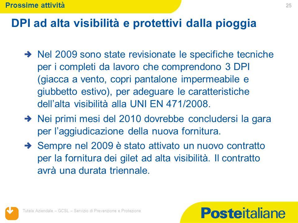 05/02/2014 Tutela Aziendale – GCSL – Servizio di Prevenzione e Protezione 25 Prossime attività Nel 2009 sono state revisionate le specifiche tecniche
