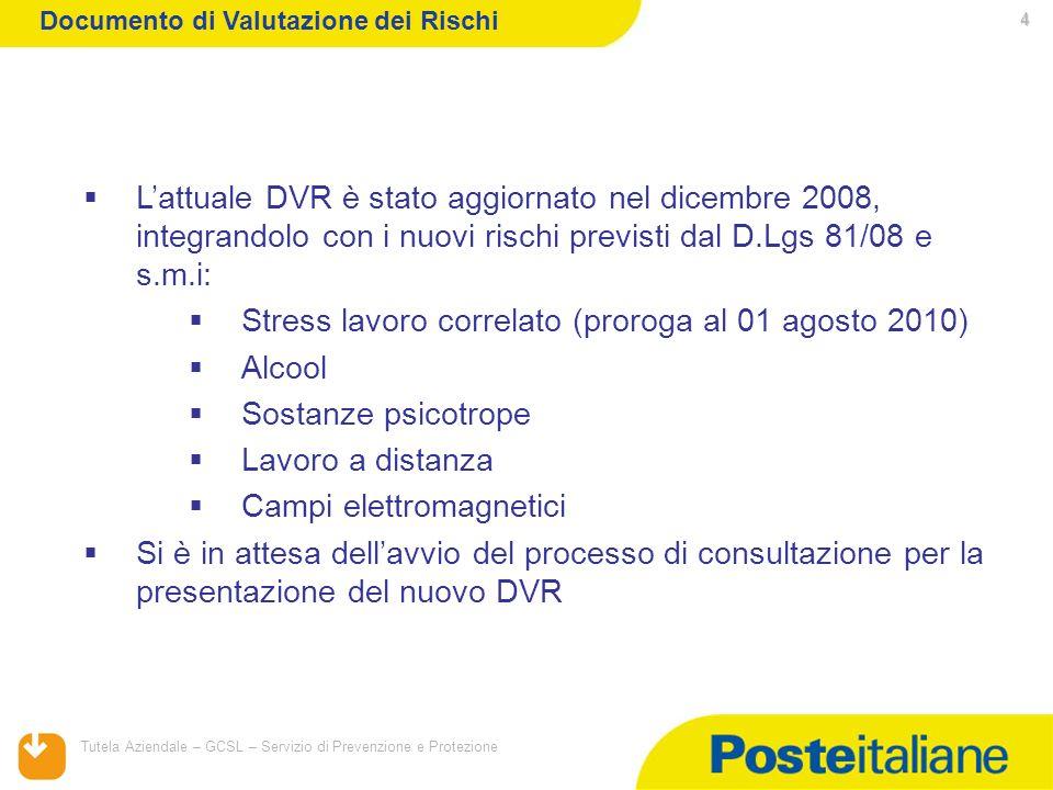 05/02/2014 Tutela Aziendale – GCSL – Servizio di Prevenzione e Protezione 4 Lattuale DVR è stato aggiornato nel dicembre 2008, integrandolo con i nuov