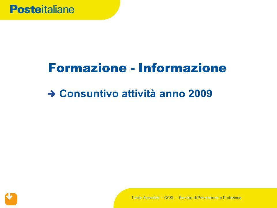 Tutela Aziendale – GCSL – Servizio di Prevenzione e Protezione Formazione - Informazione Consuntivo attività anno 2009