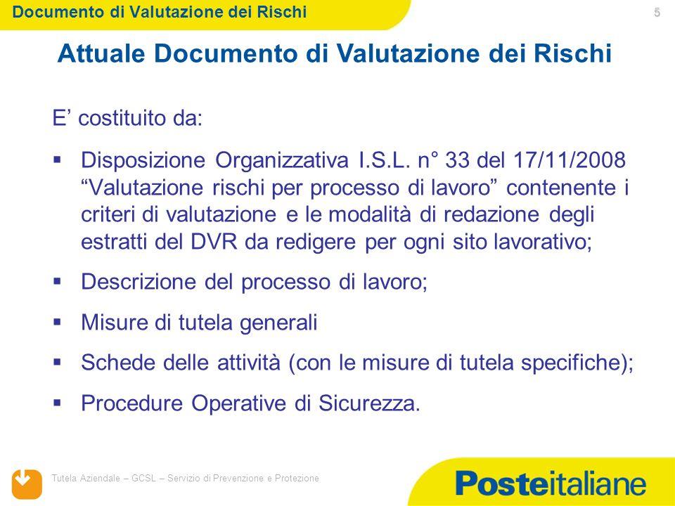 05/02/2014 Tutela Aziendale – GCSL – Servizio di Prevenzione e Protezione 5 Documento di Valutazione dei Rischi E costituito da: Disposizione Organizz