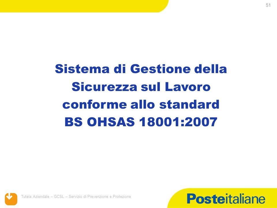 05/02/2014 Tutela Aziendale – GCSL – Servizio di Prevenzione e Protezione 51 Sistema di Gestione della Sicurezza sul Lavoro conforme allo standard BS