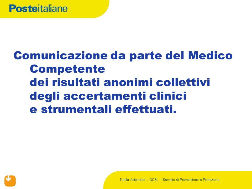 Tutela Aziendale – GCSL – Servizio di Prevenzione e Protezione Comunicazione da parte del Medico Competente dei risultati anonimi collettivi degli acc