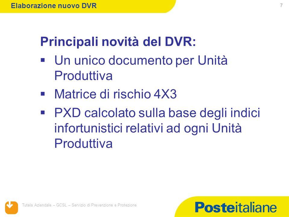 05/02/2014 Tutela Aziendale – GCSL – Servizio di Prevenzione e Protezione 7 Principali novità del DVR: Un unico documento per Unità Produttiva Matrice