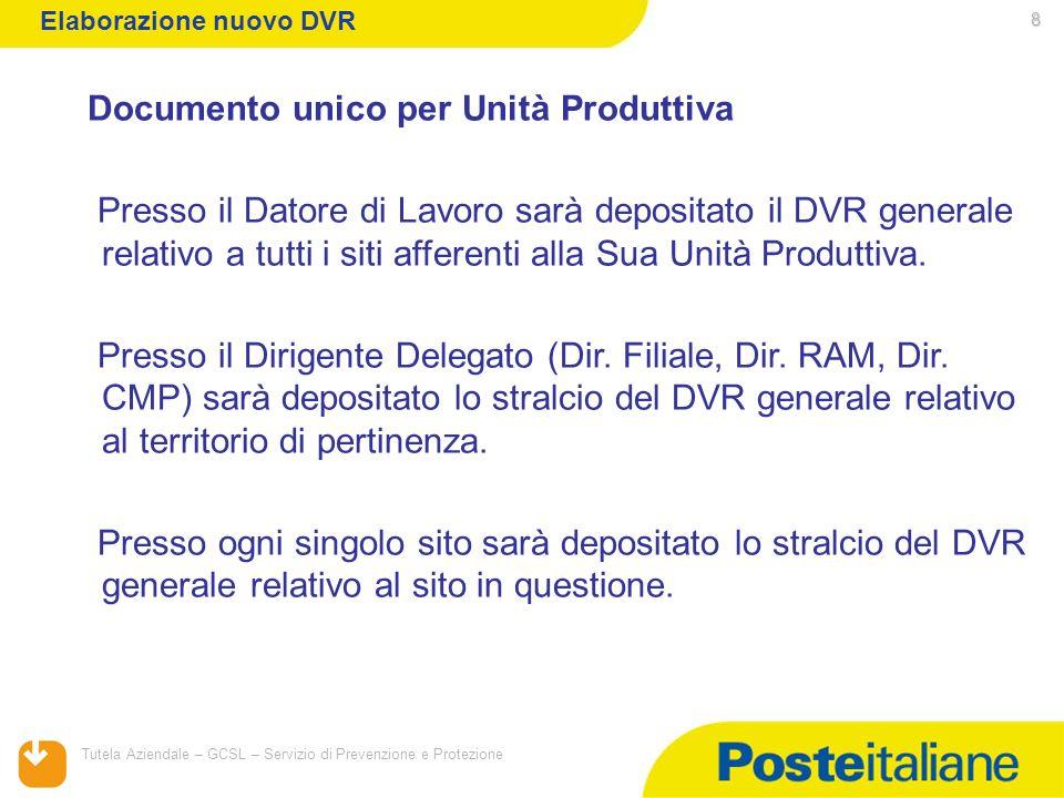 05/02/2014 Tutela Aziendale – GCSL – Servizio di Prevenzione e Protezione 8 Documento unico per Unità Produttiva Presso il Datore di Lavoro sarà depos