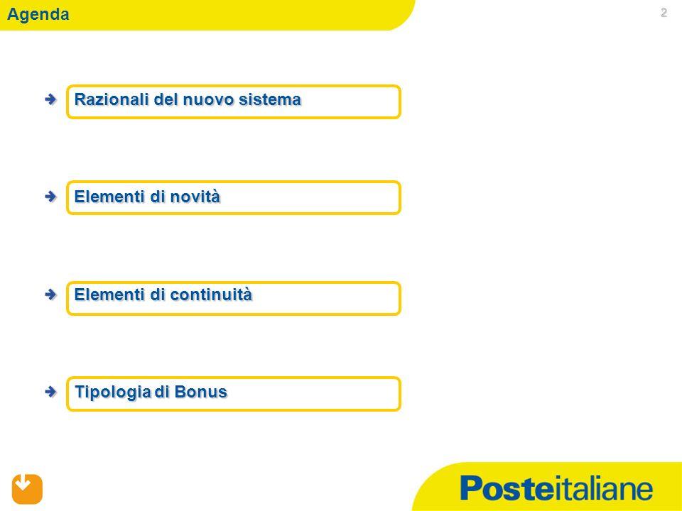 05/02/2014 2 Razionali del nuovo sistema Elementi di novità Elementi di continuità Tipologia di Bonus Agenda