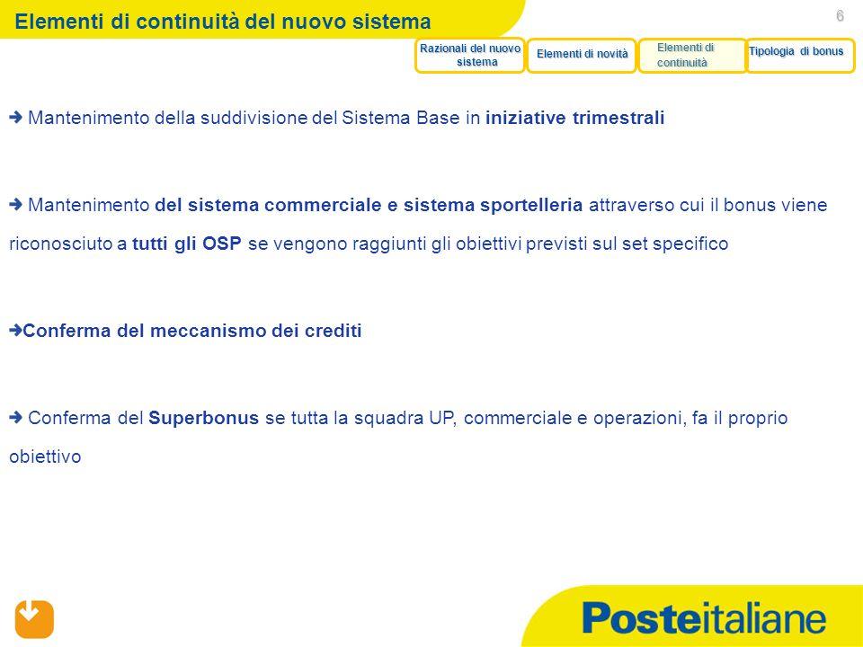05/02/2014 6 Elementi di continuità del nuovo sistema Mantenimento della suddivisione del Sistema Base in iniziative trimestrali Mantenimento del sist