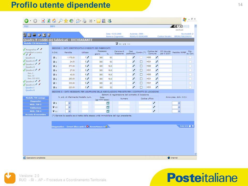 05/02/2014 Versione: 2.0 RUO - RI - AP – Procedure e Coordinamento Territoriale 14 Profilo utente dipendente