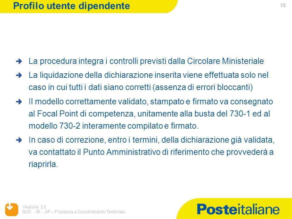 05/02/2014 Versione: 2.0 RUO - RI - AP – Procedure e Coordinamento Territoriale 15 La procedura integra i controlli previsti dalla Circolare Ministeri