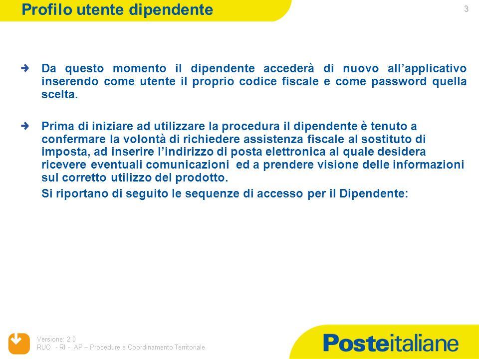 05/02/2014 Versione: 2.0 RUO - RI - AP – Procedure e Coordinamento Territoriale 3 3 Da questo momento il dipendente accederà di nuovo allapplicativo i