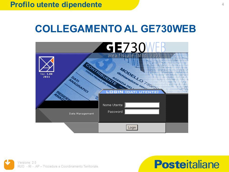 05/02/2014 Versione: 2.0 RUO - RI - AP – Procedure e Coordinamento Territoriale 4 COLLEGAMENTO AL GE730WEB 4 Profilo utente dipendente