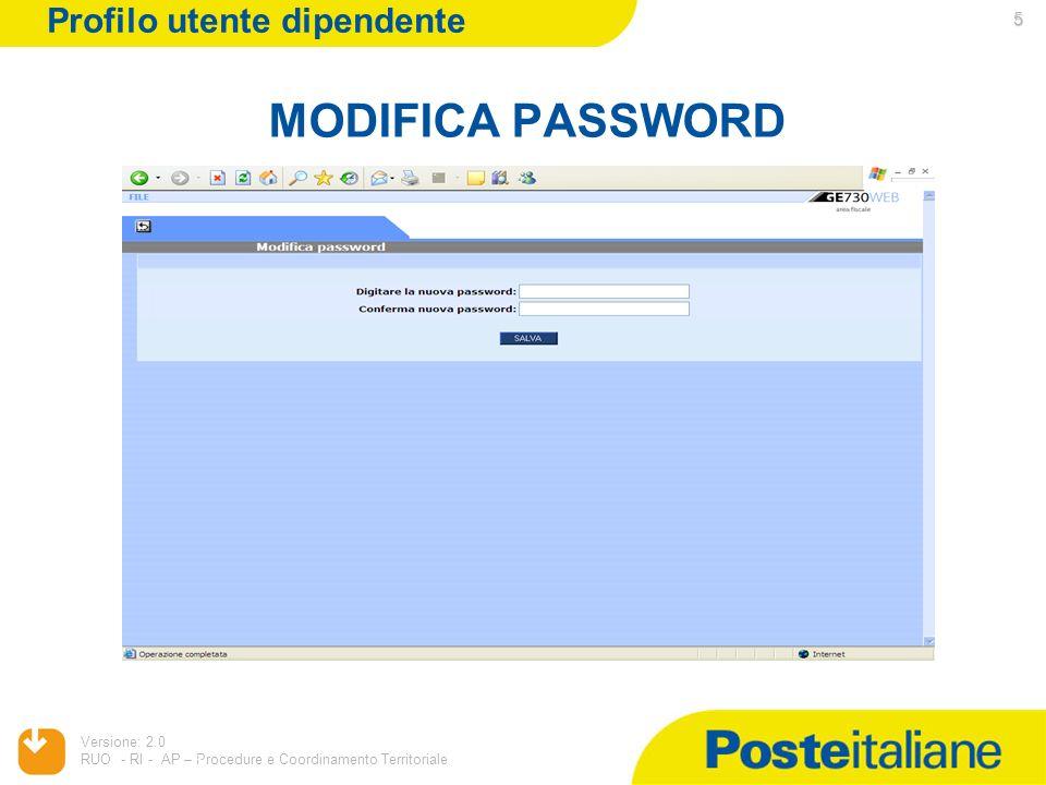 05/02/2014 Versione: 2.0 RUO - RI - AP – Procedure e Coordinamento Territoriale 5 MODIFICA PASSWORD 5 Profilo utente dipendente