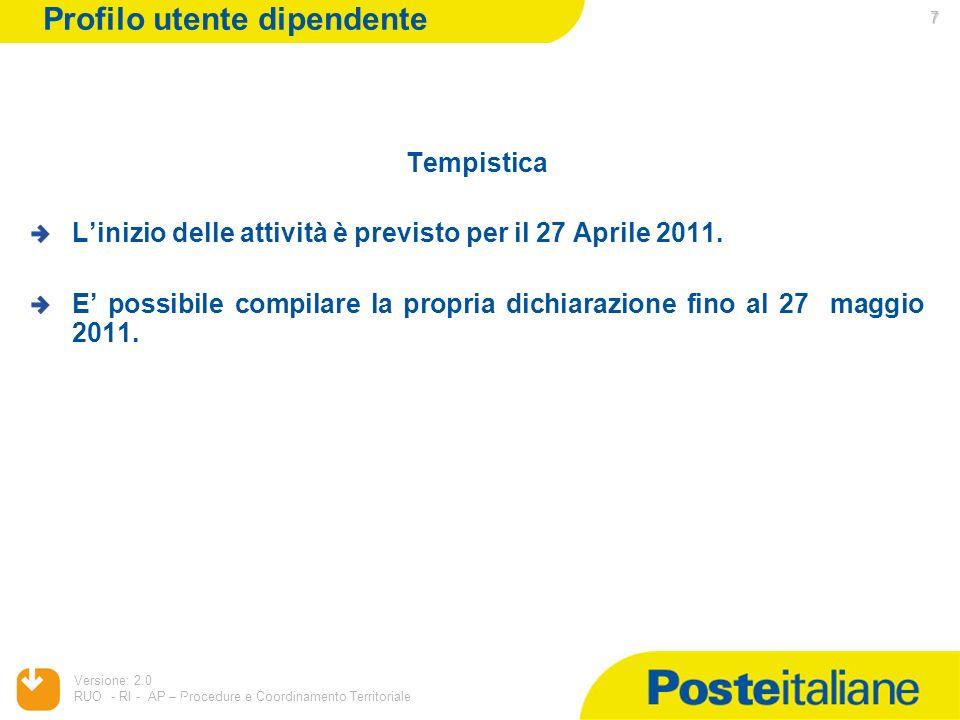 05/02/2014 Versione: 2.0 RUO - RI - AP – Procedure e Coordinamento Territoriale 7 7 Tempistica Linizio delle attività è previsto per il 27 Aprile 2011