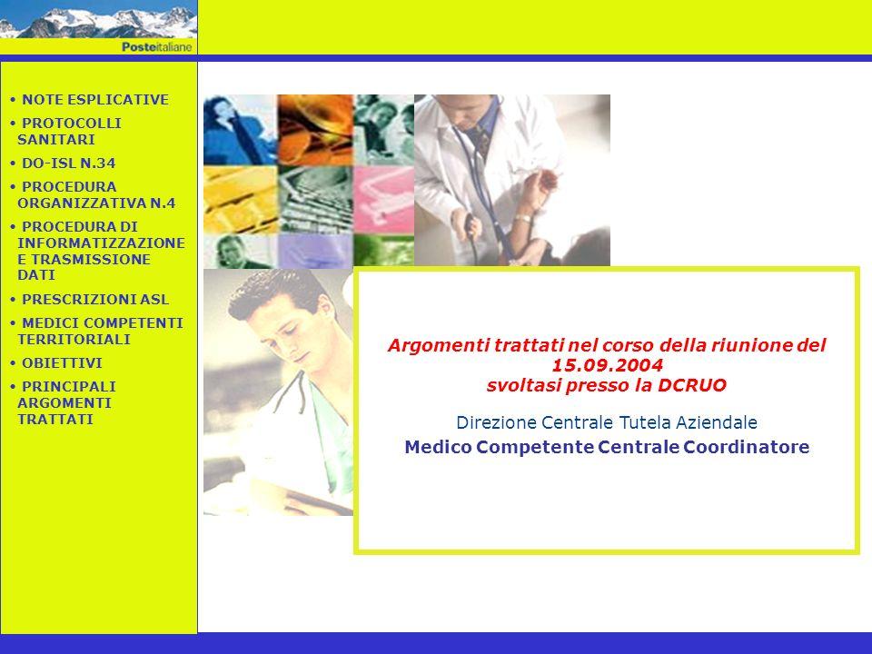 Argomenti trattati nel corso della riunione del 15.09.2004 svoltasi presso la DCRUO Direzione Centrale Tutela Aziendale Medico Competente Centrale Coo