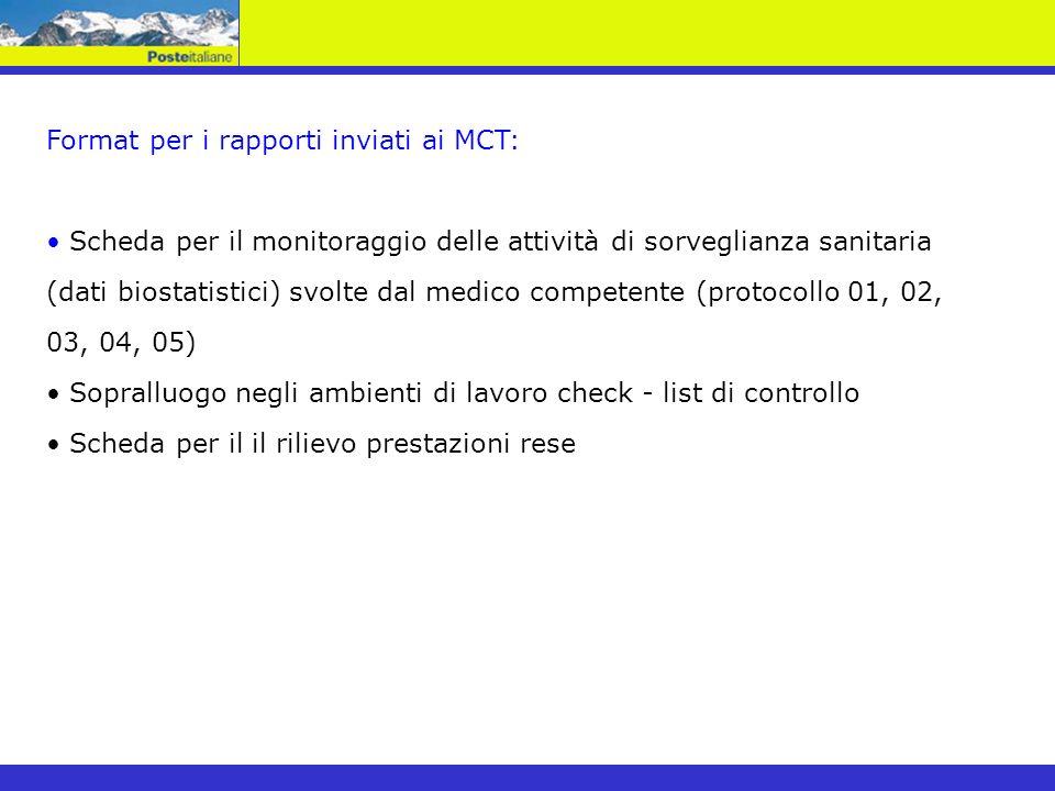 Format per i rapporti inviati ai MCT: Scheda per il monitoraggio delle attività di sorveglianza sanitaria (dati biostatistici) svolte dal medico compe
