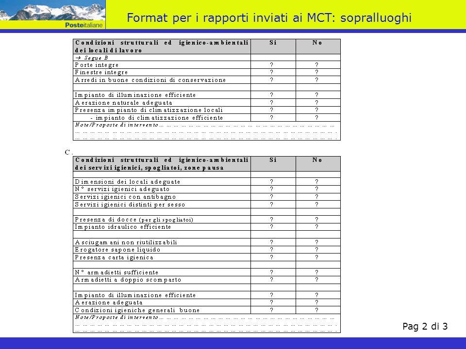 Format per i rapporti inviati ai MCT: sopralluoghi Pag 2 di 3