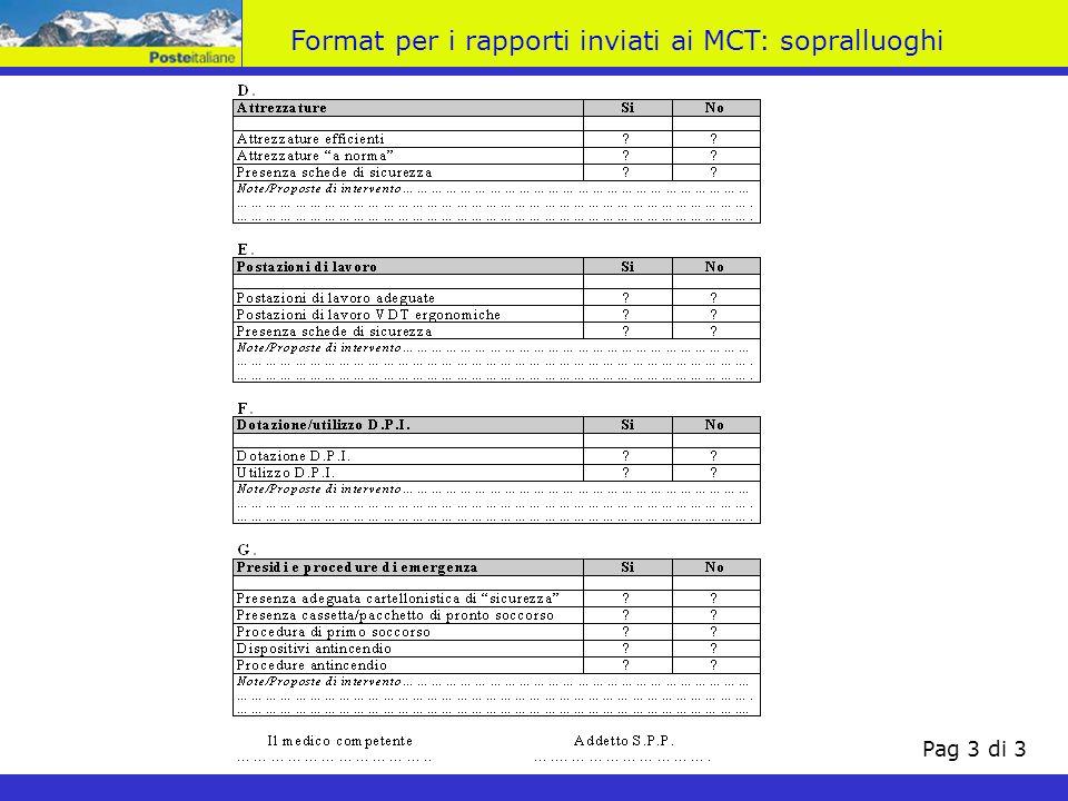 Pag 3 di 3 Format per i rapporti inviati ai MCT: sopralluoghi