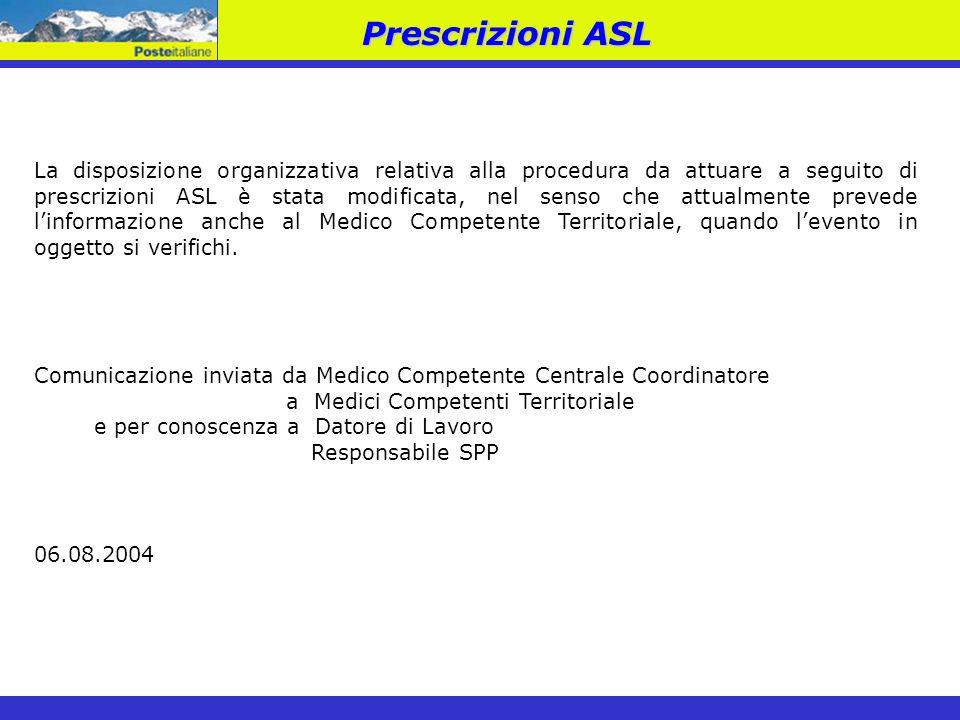 La disposizione organizzativa relativa alla procedura da attuare a seguito di prescrizioni ASL è stata modificata, nel senso che attualmente prevede l
