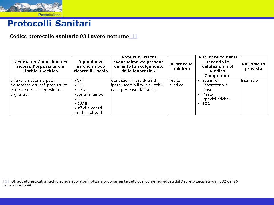 Protocolli Sanitari Codice protocollo sanitario 03 Lavoro notturno[1][1] Gli addetti esposti a rischio sono i lavoratori notturni propriamente detti c