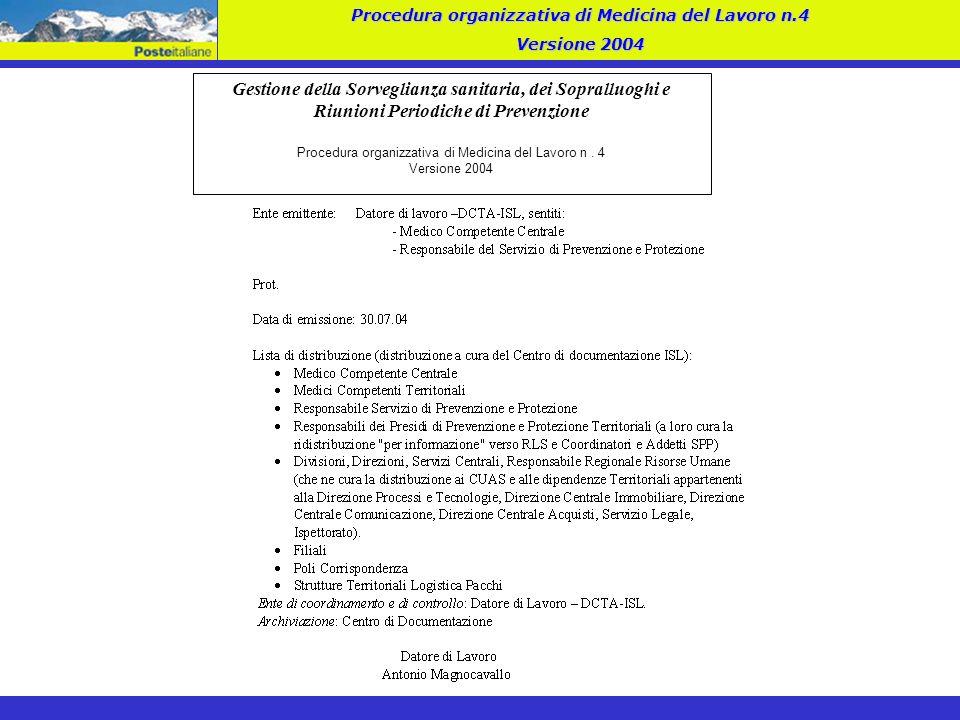Procedura organizzativa di Medicina del Lavoro n.4 Versione 2004 Gestione della Sorveglianza sanitaria, dei Sopralluoghi e Riunioni Periodiche di Prev