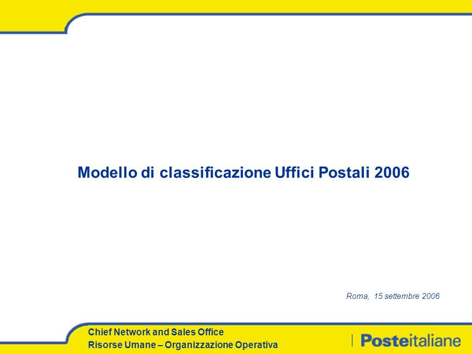 Chief Network and Sales Office Risorse Umane – Organizzazione Operativa Modello di classificazione Uffici Postali 2006 Roma, 15 settembre 2006