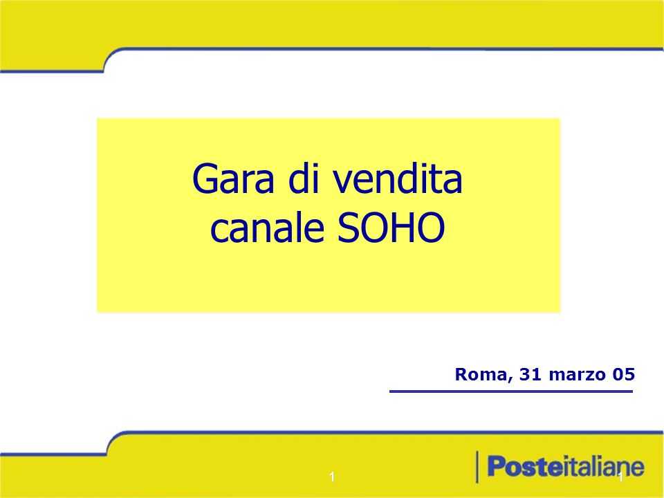 11 Gara di vendita canale SOHO Gara di vendita canale SOHO Roma, 31 marzo 05