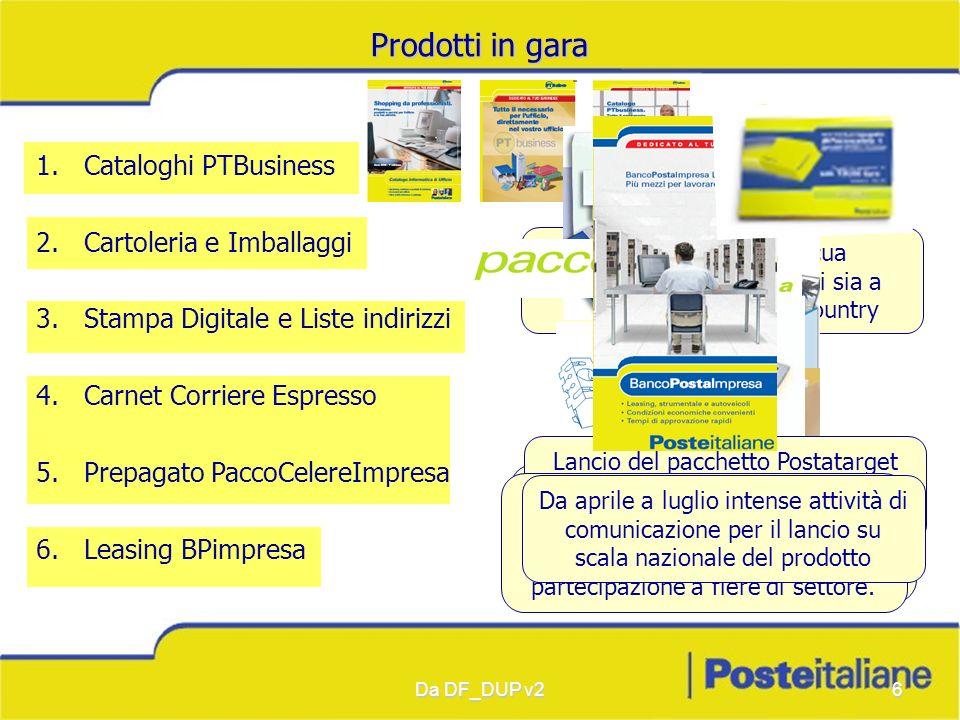 Da DF_DUP v26 Prodotti in gara 1.Cataloghi PTBusiness 2.Cartoleria e Imballaggi 3.Stampa Digitale e Liste indirizzi 4.Carnet Corriere Espresso 5.Prepa