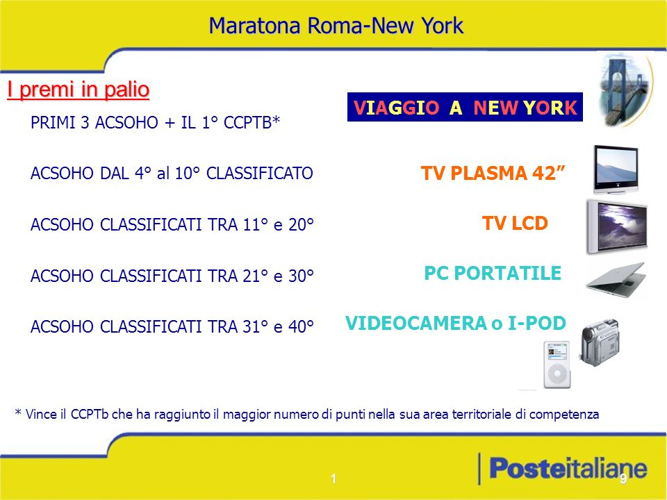 19 * Vince il CCPTb che ha raggiunto il maggior numero di punti nella sua area territoriale di competenza VIDEOCAMERA o I-POD PC PORTATILE TV LCD TV PLASMA 42 PRIMI 3 ACSOHO + IL 1° CCPTB* ACSOHO DAL 4° al 10° CLASSIFICATO ACSOHO CLASSIFICATI TRA 11° e 20° ACSOHO CLASSIFICATI TRA 21° e 30° ACSOHO CLASSIFICATI TRA 31° e 40° VIAGGIO A NEW YORK I premi in palio Maratona Roma-New York