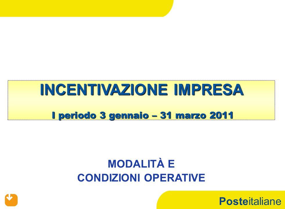 Posteitaliane INCENTIVAZIONE IMPRESA I periodo 3 gennaio – 31 marzo 2011 MODALITÀ E CONDIZIONI OPERATIVE