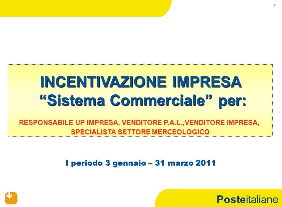 Posteitaliane INCENTIVAZIONE IMPRESA Sistema Commerciale per: RESPONSABILE UP IMPRESA, VENDITORE P.A.L.,VENDITORE IMPRESA, SPECIALISTA SETTORE MERCEOLOGICO I periodo 3 gennaio – 31 marzo 2011 7