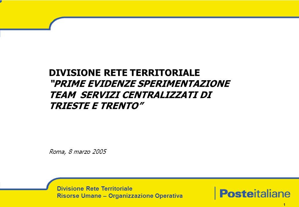 Divisione Rete Territoriale Risorse Umane – Organizzazione Operativa 1 DIVISIONE RETE TERRITORIALE PRIME EVIDENZE SPERIMENTAZIONE TEAM SERVIZI CENTRAL