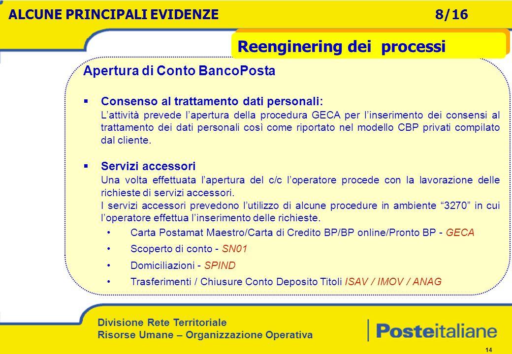 Divisione Rete Territoriale Risorse Umane – Organizzazione Operativa 14 Apertura di Conto BancoPosta Consenso al trattamento dati personali: Lattività