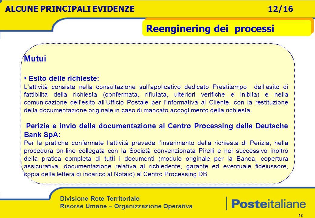 Divisione Rete Territoriale Risorse Umane – Organizzazione Operativa 18 Mutui Esito delle richieste: Lattività consiste nella consultazione sullapplic
