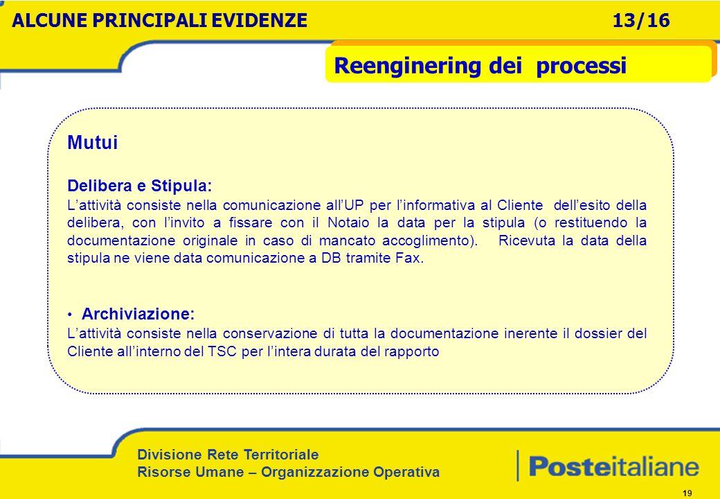 Divisione Rete Territoriale Risorse Umane – Organizzazione Operativa 19 Mutui Delibera e Stipula: Lattività consiste nella comunicazione allUP per lin