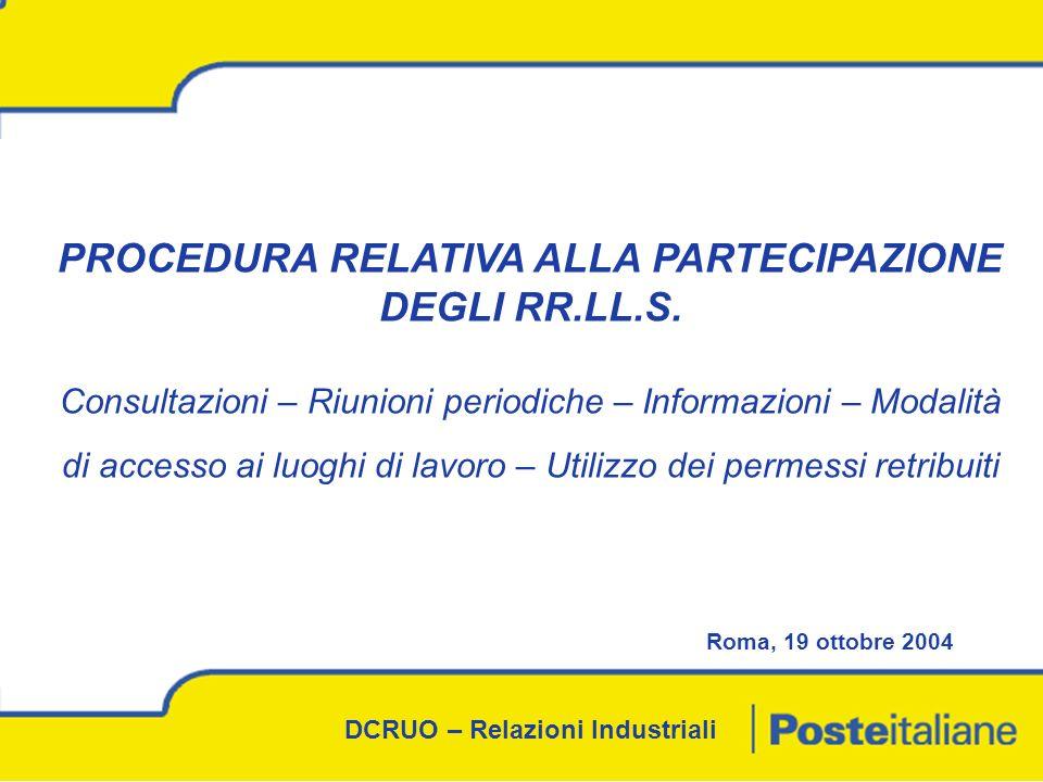 DCRUO – Relazioni Industriali PROCEDURA RELATIVA ALLA PARTECIPAZIONE DEGLI RR.LL.S.