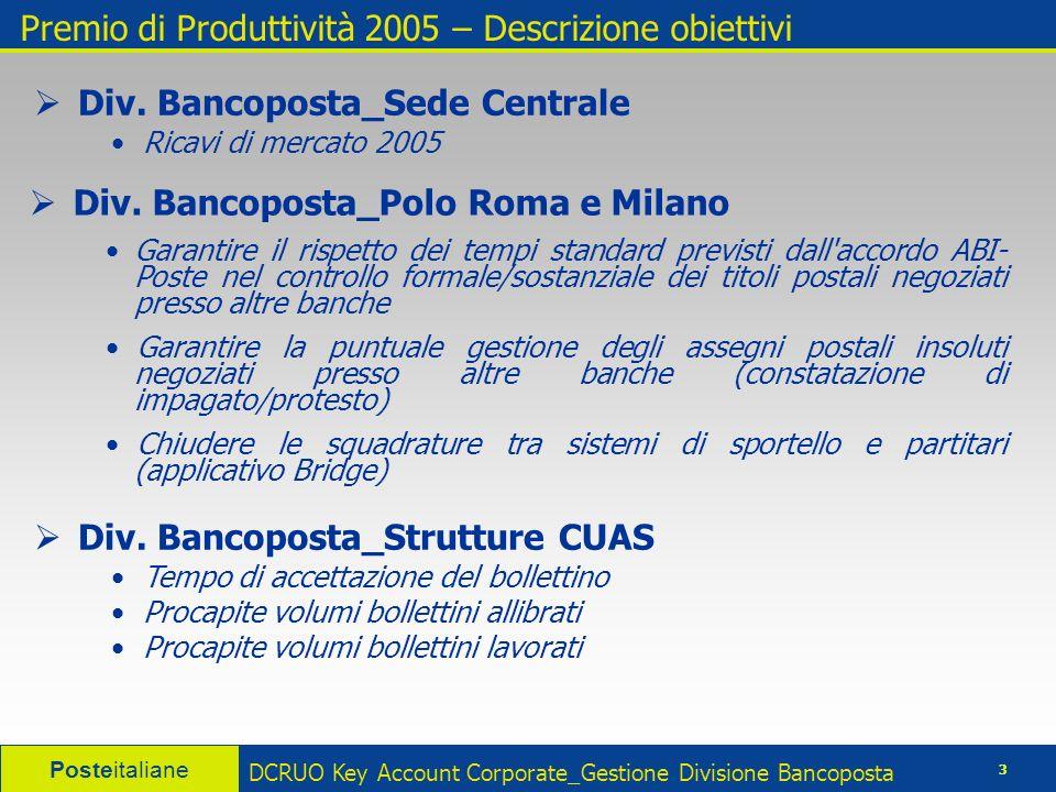 Posteitaliane 4 DCRUO Key Account Corporate_Gestione Divisione Bancoposta Premio di Produttività 2005 – Ricavi di mercato 2005
