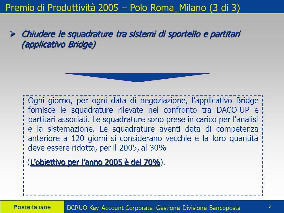 Posteitaliane 8 DCRUO Key Account Corporate_Gestione Divisione Bancoposta Premio di Produttività 2005 – Polo Roma_Milano – Obiettivi 2005