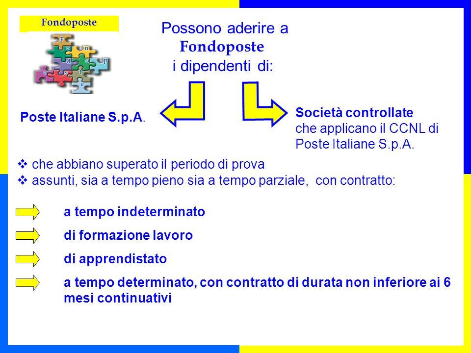 Fondoposte Possono aderire a Fondoposte i dipendenti di: Poste Italiane S.p.A. che abbiano superato il periodo di prova assunti, sia a tempo pieno sia