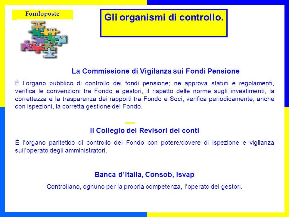 Fondoposte La Commissione di Vigilanza sui Fondi Pensione È lorgano pubblico di controllo dei fondi pensione; ne approva statuti e regolamenti, verifi
