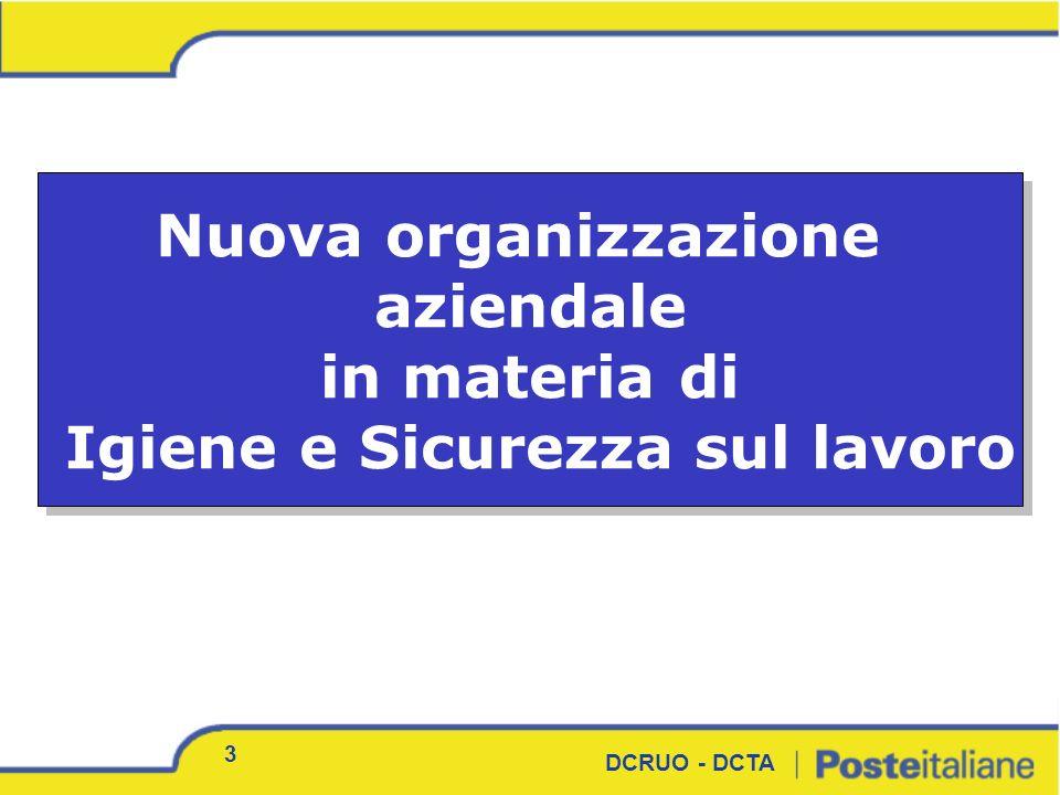 3 Nuova organizzazione aziendale in materia di Igiene e Sicurezza sul lavoro Nuova organizzazione aziendale in materia di Igiene e Sicurezza sul lavor
