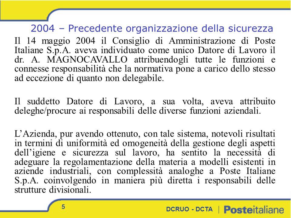 5 DCRUO - DCTA Il 14 maggio 2004 il Consiglio di Amministrazione di Poste Italiane S.p.A. aveva individuato come unico Datore di Lavoro il dr. A. MAGN