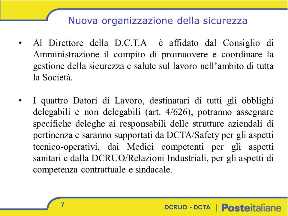 7 DCRUO - DCTA Nuova organizzazione della sicurezza Al Direttore della D.C.T.A è affidato dal Consiglio di Amministrazione il compito di promuovere e