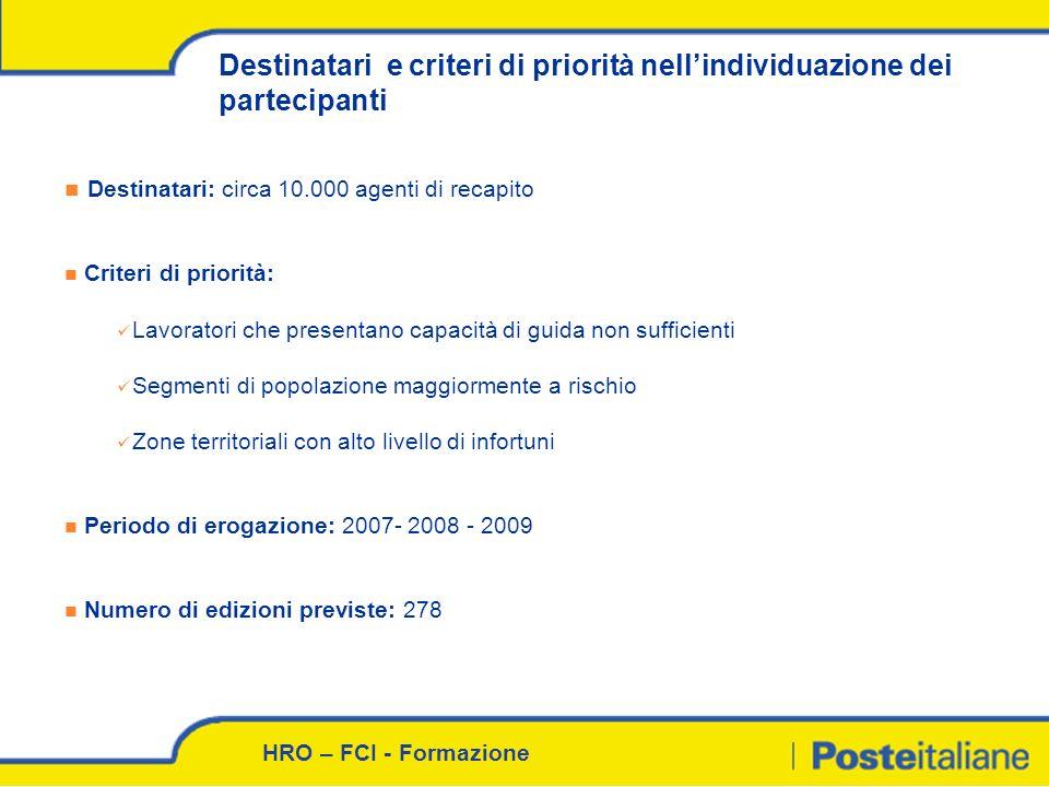 HRO – FCI - Formazione Destinatari e criteri di priorità nellindividuazione dei partecipanti Destinatari: circa 10.000 agenti di recapito Criteri di p