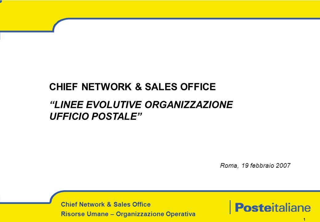 Chief Network & Sales Office Risorse Umane – Organizzazione Operativa 1 CHIEF NETWORK & SALES OFFICE LINEE EVOLUTIVE ORGANIZZAZIONE UFFICIO POSTALE Ro