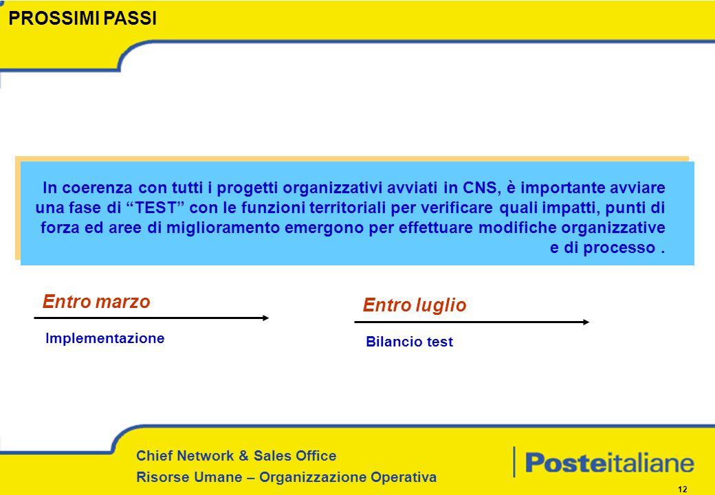 Chief Network & Sales Office Risorse Umane – Organizzazione Operativa 12 Entro marzo Implementazione Entro luglio Bilancio test PROSSIMI PASSI In coer
