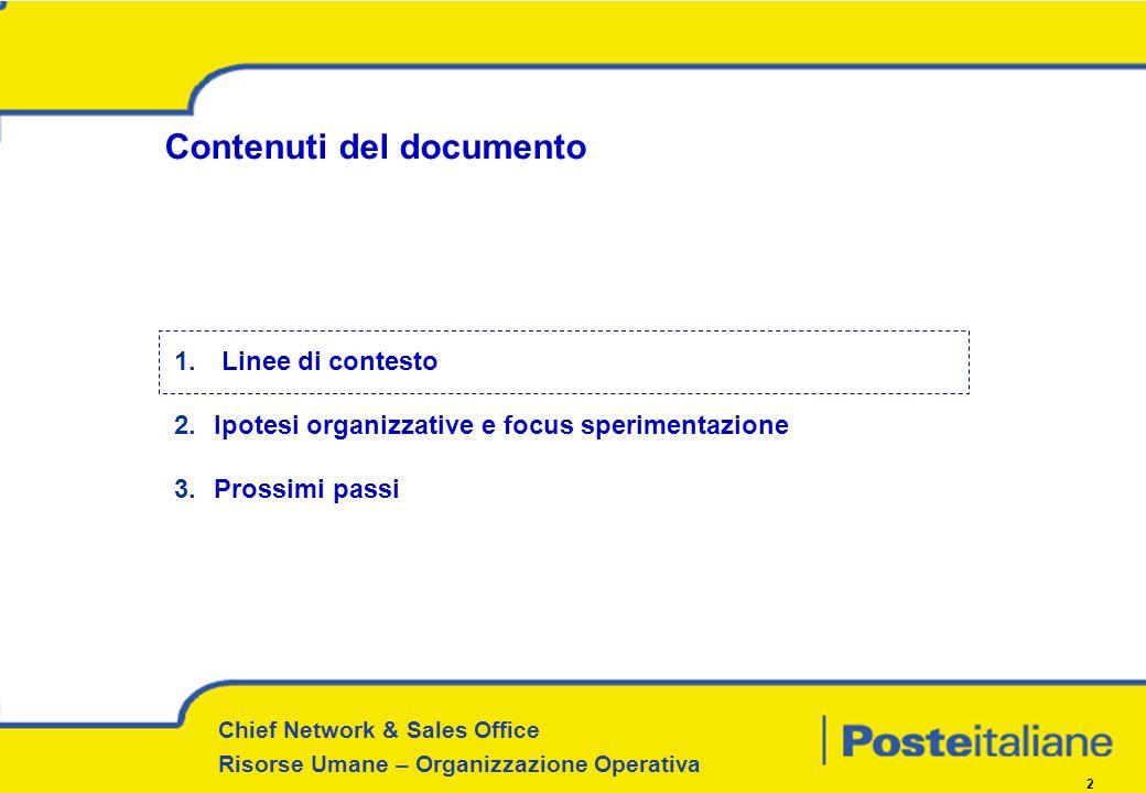 Chief Network & Sales Office Risorse Umane – Organizzazione Operativa 2 Contenuti del documento 1. Linee di contesto 2.Ipotesi organizzative e focus s