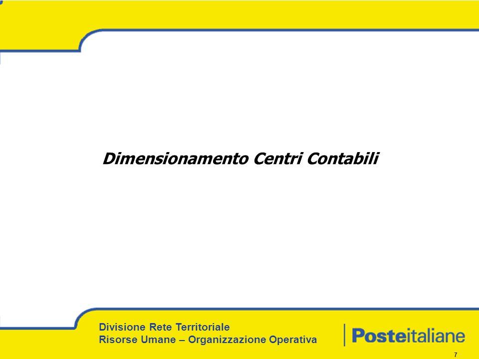 Divisione Rete Territoriale Risorse Umane – Organizzazione Operativa 7 Dimensionamento Centri Contabili